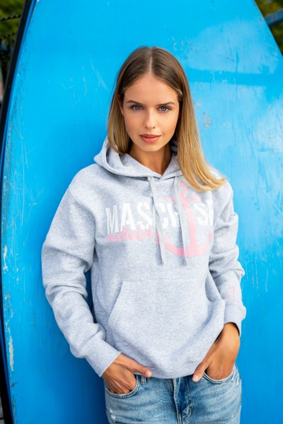 Hoodie 'Maschsee 03' Light Oxfort / Weiß / Rosa