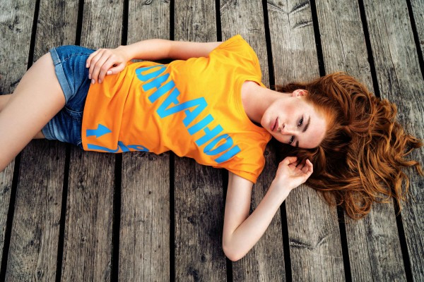 T-Shirt AHOI orange /neon blau