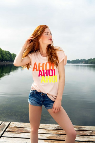T-Shirt AHOI AHOI AHOI candy pink/neon koralle/neon himbeere/gelb