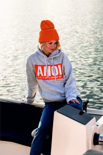 Hoodie AHOI 05 / Light Oxford / Orange Flock / Weiß